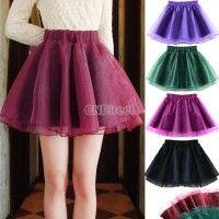 Women High Waist Slim Organza Tutu Mini Skirt A-line Flared