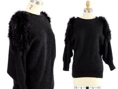 vintage sweater/ black angora sweater/ fur shoulders. $36.00, via Etsy.