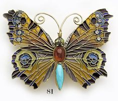 Art nouveau plique-à-jour enamel, rose-cut diamond, turquoise, garnet, peridot and gold butterfly brooch/pendant.