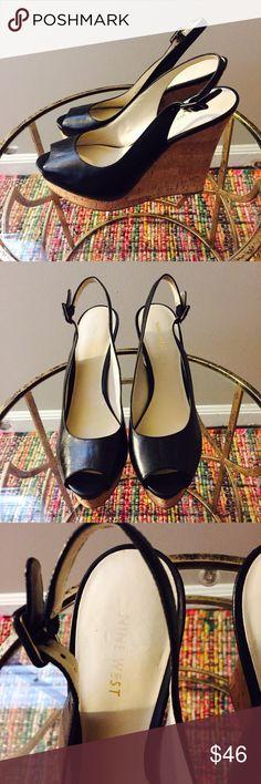 Nine West Black Wedges Leather Upper/ Has some wear Nine West Shoes Wedges