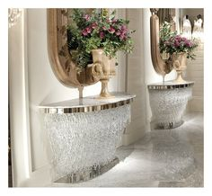 CONSOLE TABLE MURANO GLASS PENDANTS & MARBLE TOP ART ID-10100 - Side view of Italian Murano glass console tables