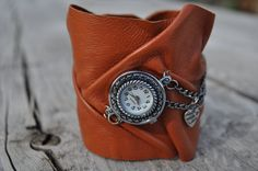 Leather Cuff With Watch / Camel Women Handmade by hocuspocusstudio, $27.00
