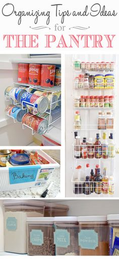 Organizing Tips and Ideas for the Pantry- particularly a small pantry, this is a pantry makeover she did with some ideas for maximizing food storage