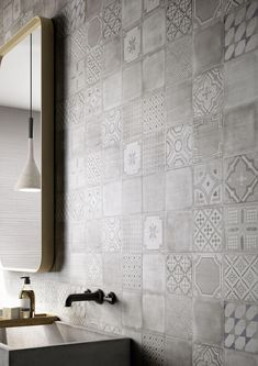 Muted patchwork tiles - perfect for the fireplace Materika ceramic tiles Kitchen Wall Tiles, Bathroom Flooring, Kitchen Flooring, Bathroom Wall Tiles, Ceramic Wall Tiles, Kitchen Backsplash, Mosaic Tiles, Ceramic Pottery, Ceramic Art