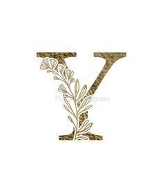 'Monogram Y Gold Flowers And Foliage' Sticker by floralmonogram E Letter Design, Lettering Design, Hand Lettering, Flower Alphabet, Monogram Shirts, Alphabet Fonts, Alphabet Letters, Flower Aesthetic, Hand Embroidery Patterns