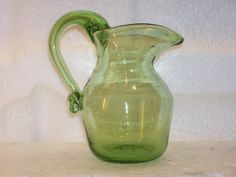 Pilgrim Art Glass Pitcher Vase Hand Blown Pale Green Applied Handle Trapped Bubbles Open Pontil, $14.99