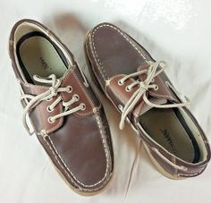 0955edac5a56e2 Jarman Mens Size 7.5 Boat Shoes Two Toned Brown Lace Up Casual Leather Shoes