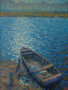 Johannes 'Johan' Dijkstra (Groningen 1896-1978) Moored rowing boat - Dutch Art Gallery Simonis and Buunk Ede, Netherlands.