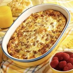 Crescent rolls on the bottom of pan. then sausage crumbles. 2 cups of mozzarella cheese. then whip 6 eggs and 1 cup of milk together pour over the top and bake on 425* for 20-25 minutes. Season with salt and pepper. Enjoy!