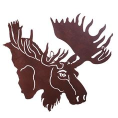 moose decor | Moose head 30'' Metal Wall Art at Rocky Mountain Cabin Decor