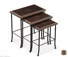 Embossed Leather Over Wood Nesting Tables Set of 3 Iron Base Ships Free New