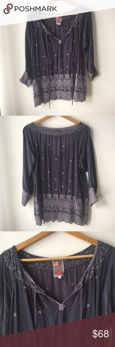 "Johnny Was Navy Embroidered Tunic Top Johnny Was Purple 3/4 Sleeve Embroidered Tunic. Loose fit.   Great condition.   Approximate Measurements Flat Pit to Pit: 20.5"", Shoulder to Hem: 26.5"" Johnny Was Tops Tunics"