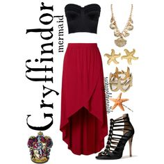 """""""The Hogwarts House Collection: Gryffindor-Mermaid"""" by suchagoldensnitch on Polyvore"""