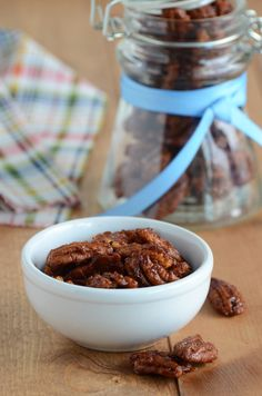 sweet & spicy roasted pecans. Made 3 x the recipe and still all are gone.