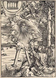 10. DURER, Albrecht (1471-1528) / The Apocalypse [series] #10 of 16 -- St.John Swallowing Book Presented by Angel / 1496-98 / woodcut . durer-apocalypse-10