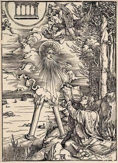 10. DURER, Albrecht (1471-1528) / The Apocalypse [series] #10 of 16 -- St.John Swallowing Book Presented by Angel / 1496-98 / woodcut . durer-apocalypse-10