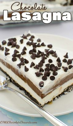 Chocolate Lasagna ~ if only I wasn't on a diet. Good inspiration when I'm not. Could possibly use sugar-free pudding to cut back some of those calories.