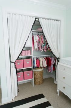 Closet Ideas.  Maybe put a sheer fabric behind so you get the effect without seeing everything in the closet?