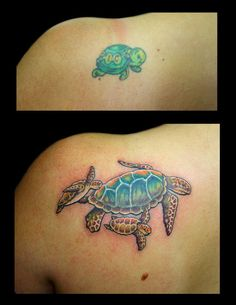 Sibling Tattoos, Mom Tattoos, Cute Tattoos, Body Art Tattoos, Sleeve Tattoos, Cute Turtle Tattoo, Hawaiian Turtle Tattoos, Turtle Tattoo Designs, Tribal Shoulder Tattoos