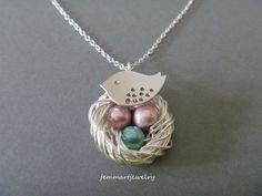Birds Nest Necklace - Spotted Bird - Family of Birds - Silver - Mother's Day Gift - Mother of the Bride - Mommy Necklace - femmart