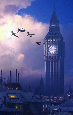 Wallpaper Disney - You Can Fly Disney Peter Pan Big Ben London Neverland Artwork Giclée on Canvas . - Wildas Wallpaper World Disney Pixar, Disney Cartoons, Disney And Dreamworks, Disney Animation, Walt Disney, Punk Disney, Animation Movies, Disney Love, Disney Magic