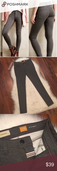 Anthropologie Pilcro gray SERIF ponte pants Anthropologie Pilcro and the Letterpress gray SERIF skinny legging ponte pants. Super comfortable, soft and stretchy pants.  Faux front pockets.   Size 25  Used, excellent condition!  Bundle and save! Anthropologie Pants Leggings