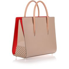 Christian Louboutin Paloma Large Beige Leather Tote (2,625 CAD) ❤ liked on Polyvore featuring bags, handbags, tote bags, beige, handbags totes, handbag purse, leather tote handbags, leather purses and purse tote