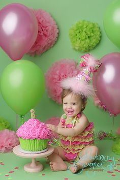 Pink and green giant cupcake cake smash.