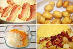 Cartofi noi cu sos carbonara - Retete culinare by Teo's Kitchen Antalya, Hot Dogs, Bacon, Cheese, Ethnic Recipes, Food, Meal, Essen, Hoods