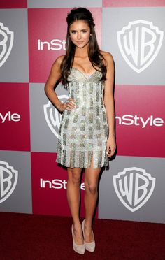 We've Got a Serious Style Crush on Nina Dobrev — and Here's Why: She sparkled in a Georges Chakra Couture strapless frock with nude pumps at the 2011 InStyle/Warner Bros. Golden Globes party.