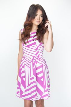 Sleeveless Printed Fit/Flare Dress
