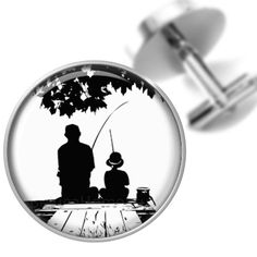 60cd79db7f3ff Cufflinks Fishing on the Dock with Dad by BelugaHomeStudio on Etsy, $39.95  Or necklace
