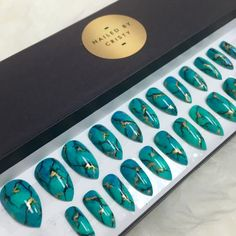 Hand Painted Turquoise Stone Stiletto Press On by NailedByCristy