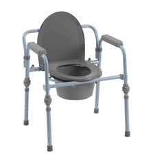 Drive Medical Folding Bedside Commode with Bucket and Splash Guard (Folding Bedside Commode), Silver steel