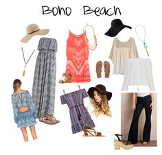"""""""Boho Beach"""" by janyclaire29 on Polyvore featuring Coal, Ancient Greek Sandals, Sam Edelman, Billabong, Free People, Heidi Klein, Bamboo, Henri Bendel, AG Adriano Goldschmied and Haute Hippie"""