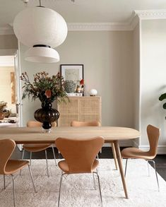 Dining Room decor ideas - modern contemporary style with natural wood open beam ceiling, double tables on casters, and leather parsons chairs set off with vibrant art Dining Room Inspiration, Home Decor Inspiration, Room Interior, Interior Design, Solid Wood Dining Table, Oak Table, Dining Set, Dining Rooms, Style Deco