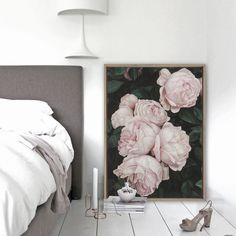 Featuring a beautiful rose bush in feminine tones of pink, this canvas print was originally hand painted by our in-house artist team, and now available as a reproduction stretched and ready-to-hang canvas art piece. Size & frame colour options available. We ship worldwide. #ThePrintEmporium #botanical #floral #art #canvas #roses #wallart #floralart #pink #moody www.theprintemporium.com.au