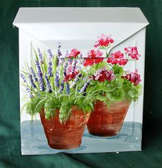 Hand Painted Mailbox with Flower Pots of by DancingBrushes on Etsy, $89.00