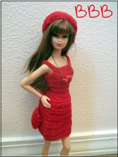 Crochet Barbie Clothes Spaghetti Strap Red by BarbieBoutiqueBasics
