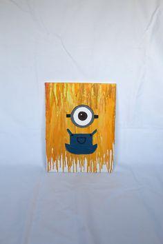 Minion Crayon Art by YourMagicalMemories on Etsy Wax Crayon Art, Melted Crayon Crafts, Crayon Melting, Melted Crayons, Disney Crayon Art, Cute Crafts, Diy Crafts, Crayola Art, Craft Night