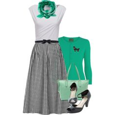 """""""Modesty Matters- retro gingham skirt outfit"""" by dixiegirl-dixie on Polyvore"""