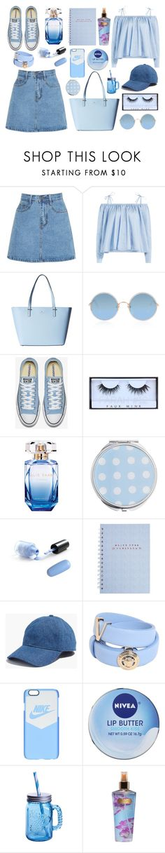 """blue sky"" by ele-b-s ❤ liked on Polyvore featuring Sandy Liang, Kate Spade, Sunday Somewhere, Huda Beauty, Elie Saab, Miss Selfridge, Madewell, Versace, NIKE and Nivea"