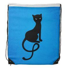 Blue Gracious Evil Black #Cat Drawstring Backpacks $16.95 #bag #bags #accessories
