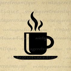 Coffee Graphic Printable Image Download Digital Artwork. Printable digital graphic download from vintage artwork. This vintage digital image download is high resolution for transfers, making prints, tea towels, pillows, and other great uses. Personal or commercial use. This graphic is high quality and high resolution at size 8½ x 11 inches. Transparent background version included with all images.