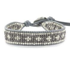 Grey Mix Single Wrap Bracelet on Iceberg Leather - Chan Luu Bead Loom Bracelets, Beaded Wrap Bracelets, Handmade Bracelets, Beaded Jewelry, Jewelry Bracelets, Handmade Jewelry, Jewellery, Motifs Perler, Bracelet Cuir