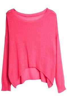 Batwing Sleeves Pink Jumper#Romwe
