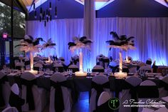 Black & White Feather Centerpieces La Toundra Montreal Wedding Reception | A Timeless Celebration Event Styling & Management Montreal Decorator