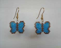 Brick+Stitch+Butterfly+Earrings+Turquoise+and+Brown+by+Beadedforu,+$10.00
