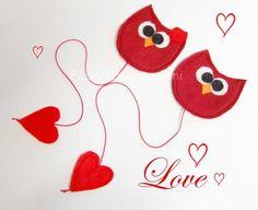 segnalibro gufi in feltro,san valentino,amore,lui lei,cuore,rosso, fatto a mano