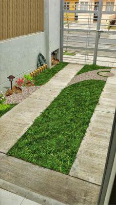 Dise o jard n minimalista para fachada con pasto y losetas for Jardines chinos pequenos